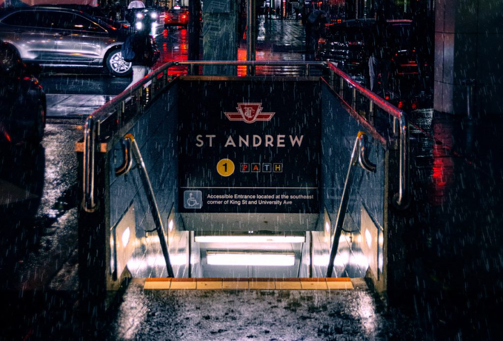 Entrance to St Andrew Toronto subway steps